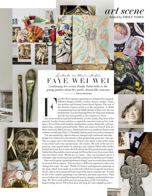 Artists in their studio FAYE WEI WEI Continues her series, Emily Tobin talks to the young painter about her poetic,...