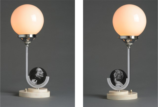 Nina Mae Fowler  Immaculate: Joan and Christina, 2017  Antique lamp with pencil on paper  425 x 160 x 160 mm