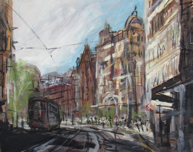 'Shade Next to Manchester Town Hall'; Paints, charcoal, oil pastels; 40cm x 50cm