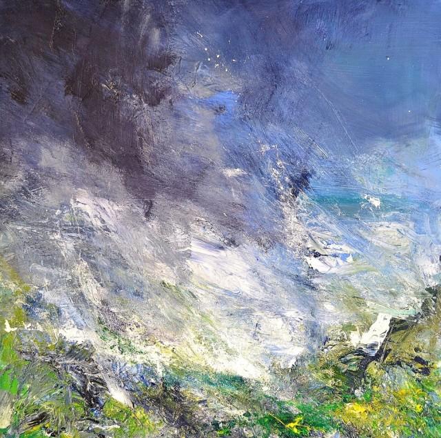'Ancient Ground, Wind Swept Hilltop, Heavy Rain', 100cm x 100cm, Oil on canvas, £1200.00