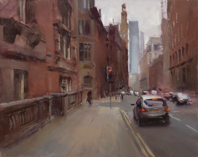 Quiet Whitworth Street, 40cm x 50cm, Oil on board
