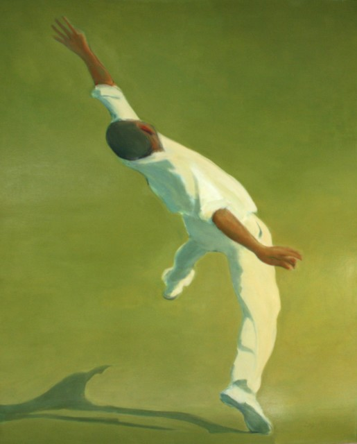 Sarah Coghill. The Bowler, Oil on board.152.4 x 121.9cm. Price: £7,900