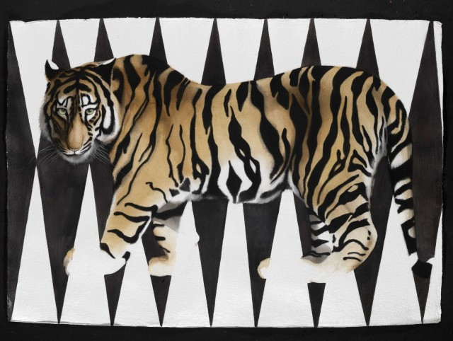 "Vanishing Tiger, Watercolour, 37"" x 53"" £5,400"