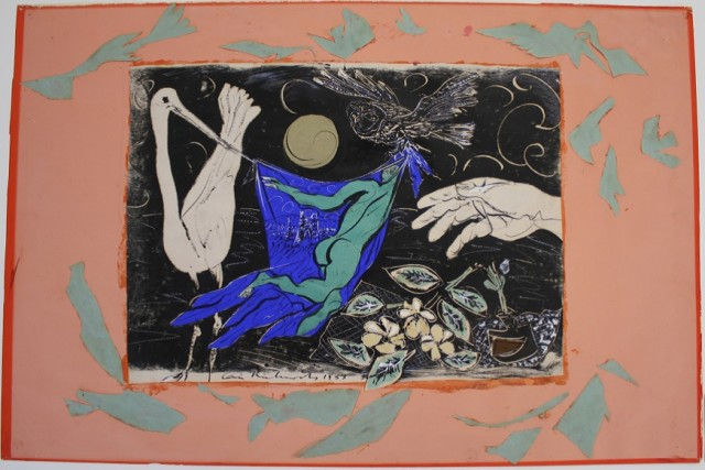 'Design for Dropcloth (Homage to Dylan Thomas)', 1953, screenprint, collage, ink on wove, 50 x 74 cm