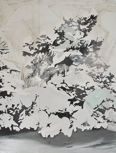 'Snow on Trees,' 2009, synthetic enamel on metal, 200 x 150