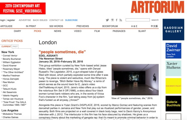 'people sometimes, die' curated by Jesse Hlebo, critics' pick in Artforum