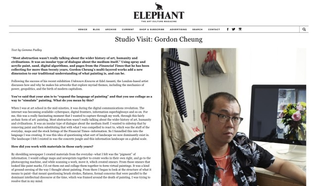 Gordon Cheung interview in Elephant Magazine