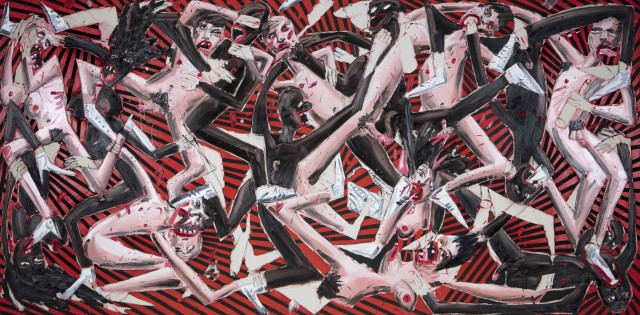 Devil's Juice, 2018, oil, acrylic and spray paint on canvas, 200 x 400 cm
