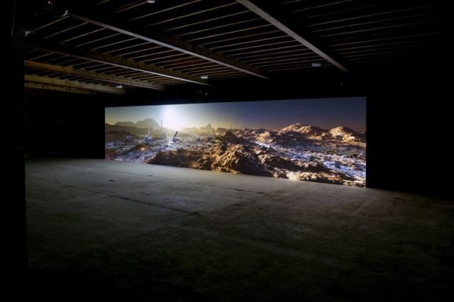 Kelly Richardson (Canadian, born 1972). Installation view of Mariner 9, 2012. Three-channel high-definition video installation with 5.1 audio. Running time: 20 minutes. Originally commissioned by Tyneside Cinema, UK. Image courtesy the artist and Birch Libralato. Photograph by Colin Davison.