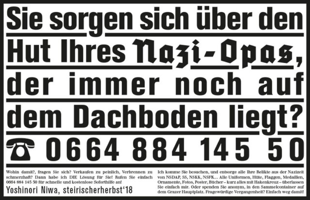Yoshinori Niwa, 'Withdrawing Adolf Hitler from a Private Space', 2018, advertising campaign for Steirisches Herbst
