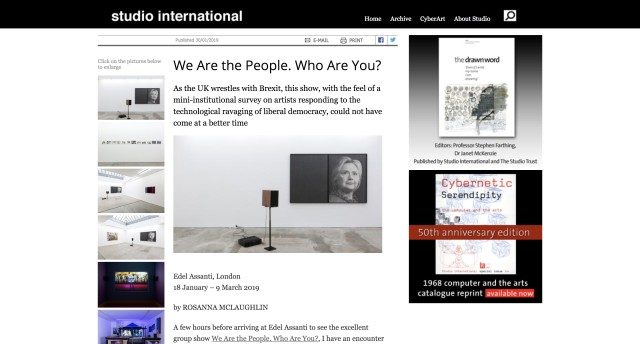 'We are the people. Who are you' in Studio International