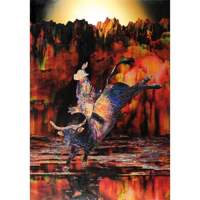 Minotaur 2, 2009, acrylic gel and spray on sail cloth, 215.9 x 151 cm, 59 1/2 x 85 in.