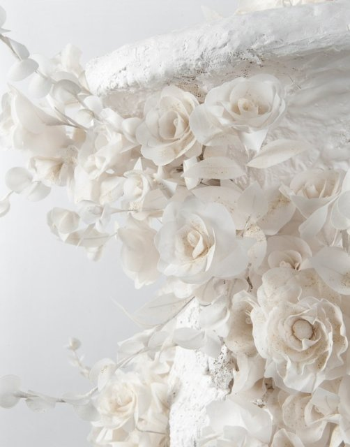 Jodie Carey, Untitled (Vanitas) Detail, 2010, Plaster, lace, chiffon, bone.