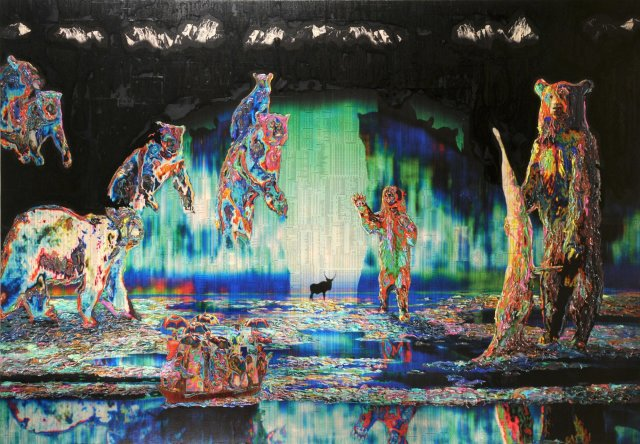Gordon Cheung, The Guardians, 2008, Stock listings, acrylic gel and spray on sali cloth