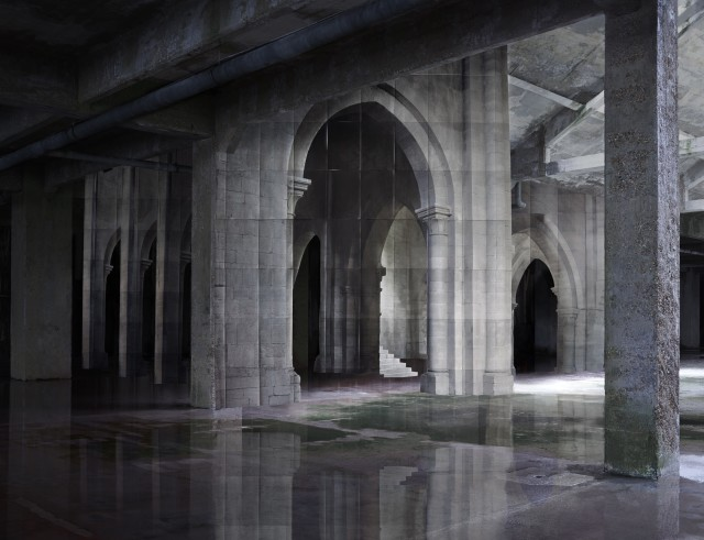 Noémie Goudal, In Search of the First Line II, 2014. Lambda print, 168 x 19 cm. / 111 x 139 cm. Edition of 5.