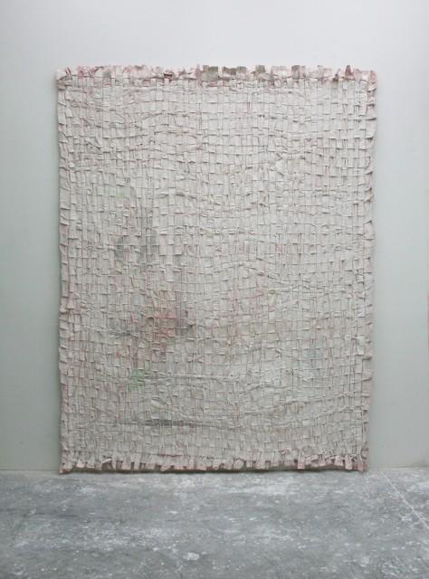 Jodie Carey, Untitled, 2015, pencil, dye, plaster, canvas, 269 x 210 cm.