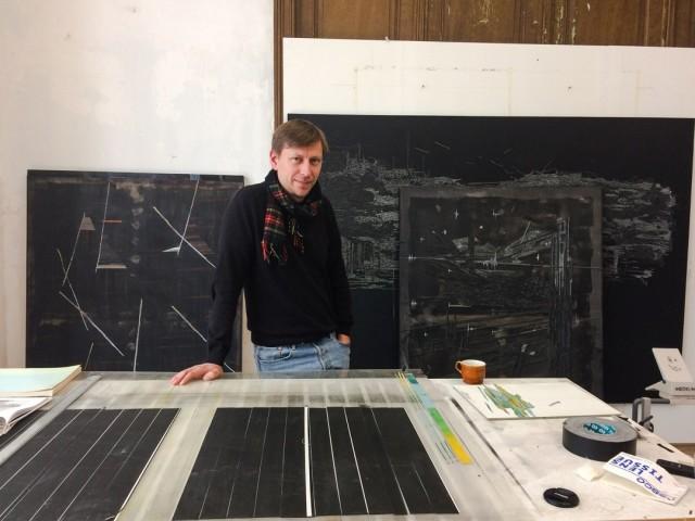 Dudek among his work in his Brussels studio.