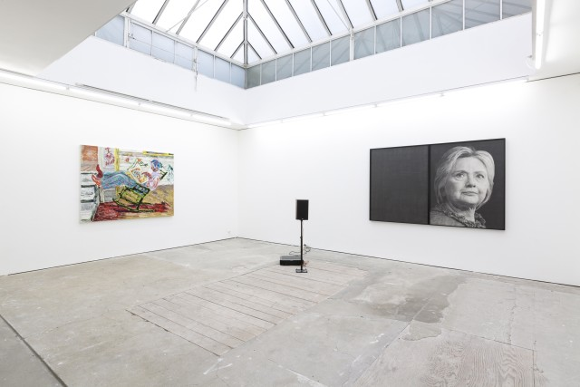 Karl Haendel, Hillary Clinton, 2016. Pencil on paper, speaker and edition 2/2 of audio recording, 148 x 229.9 x 5.1 cm (diptych), Courtesy of the artist and Susanne Vielmetter Los Angeles Projects. Farley Aguilar, Bat Boy, 2018. Oil on canvas, 146.1 x 191.8 cm, Copyright Farley Aguilar Credit : Copyright studio Will Amlot, Courtesy Edel Assanti.