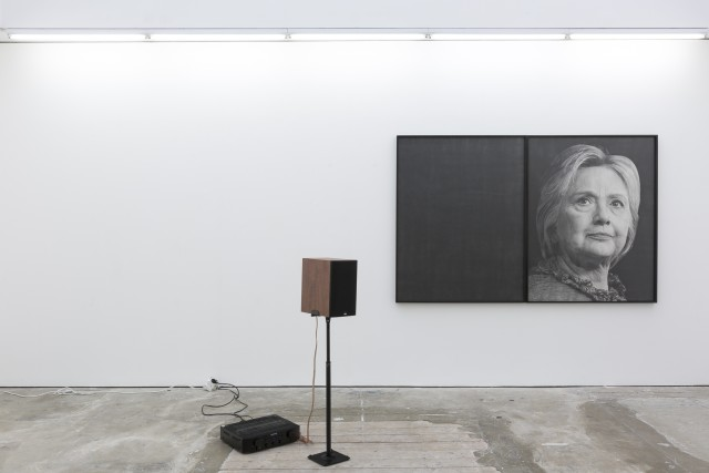 Karl Haendel, Hillary, 2016. Pencil on paper and audio recording, 148 x 115 x 5 cm (each). Image courtesy of the artist and Susanne Vielmetter, Los Angeles.