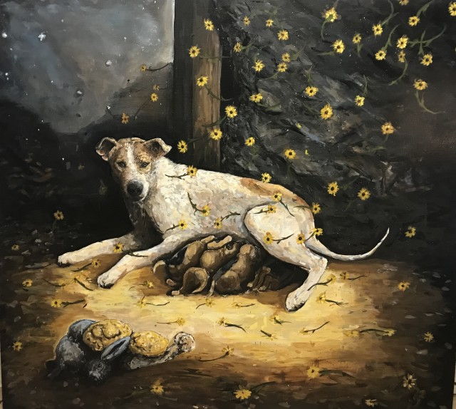 "<div class=""artist""><strong>Chaz John, </strong><em>Rez Dog Mother and Puppies</em>, 2019</div><div class=""medium""> </div>"