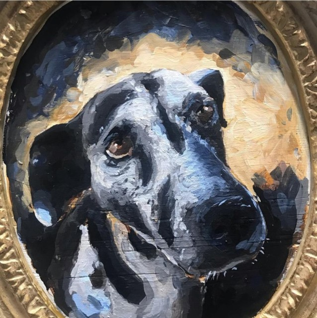 "<div class=""artist""><strong>Chaz John, </strong><em>Portrait of a Rez Dog ""Sweet Adeline"" </em>, 2019</div><div class=""medium""> </div>"