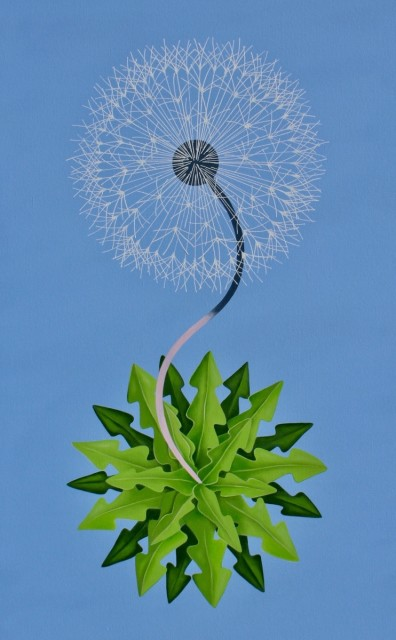 Peter Harrington, New World Dandelion, 2017, oil on canvas, 30 x 47.5 in.