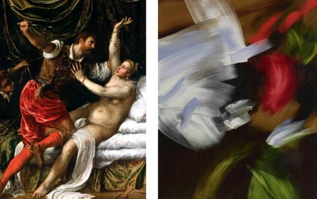 Titian, Tarquin and Lucretia, 1571, oil on canvas | Elise Ansel, Lucretia III, 2019, oil on linen