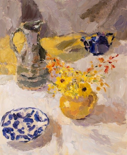 Lynne Cartlidge, Yellow Jug of Flowers with Ochre Cloth