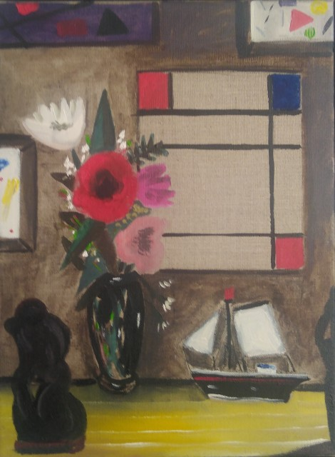 Emrys Williams, Flowers, Toy Boat and Mondrian