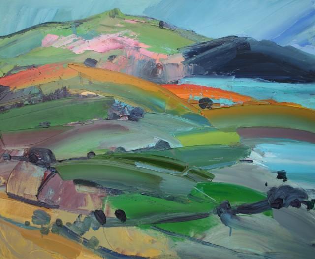 <span class=&#34;artist&#34;><strong>Sarah Carvell</strong></span>, <span class=&#34;title&#34;><em>Moel Binc ar Llwybr yr Arfordir / Pink Hill on the Coastal Path</em></span>