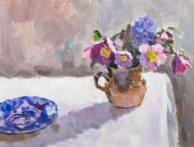Hellebores and a Blue Patterned Plate
