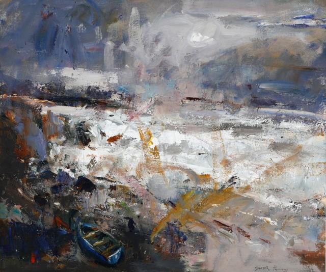 Gareth Parry, Môr yn y Gaeaf, ger Criccieth / Winter Sea, near Criccieth