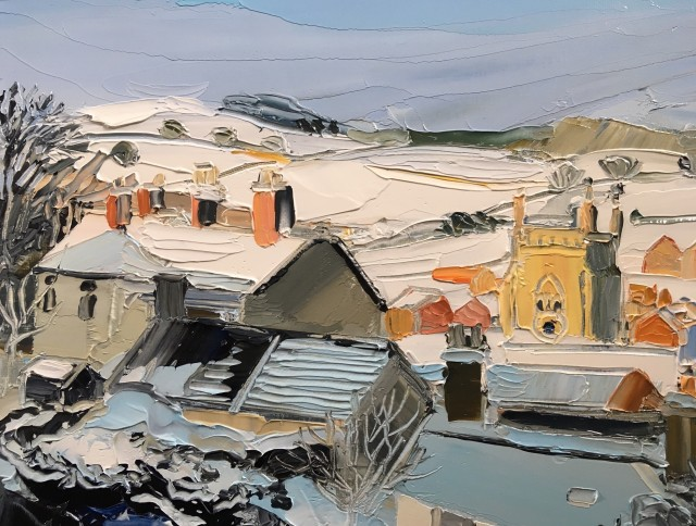 Sarah Carvell, Snow covered Roofs & St. Marys in Sunlight