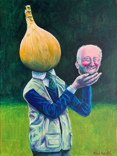 Olaf Falafel Mr Onion and his Prize Winning Graham Acrylic on canvas 40 x 30 cm 15 3/4 x 11 3/4 in