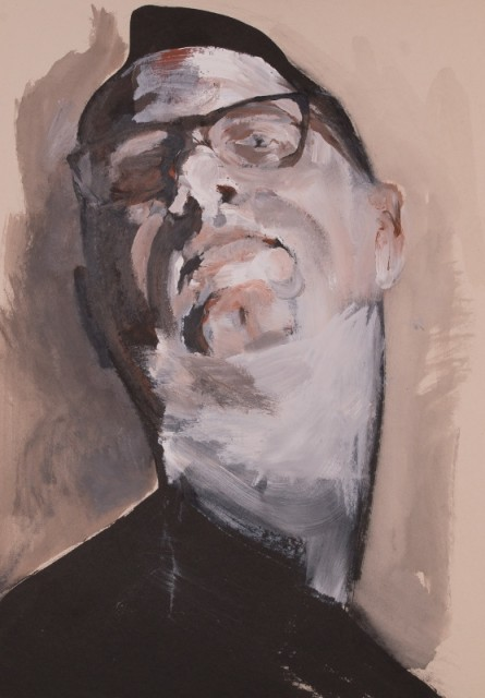 Self Portrait, by Dénes Maròti, Acrylic on carton, 100 x 70 cm