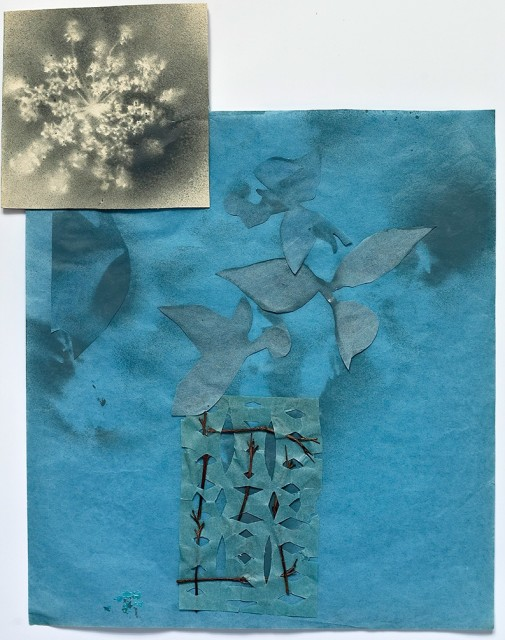 Lindsey Brown, Blue Cut-Out with Flower, 2010
