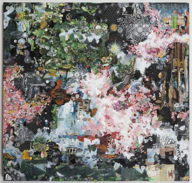 Sally Gil, Two Stellar Women, 2013-2015, collage, acrylic, casein and house paint on canvas, 58 x 60 in.