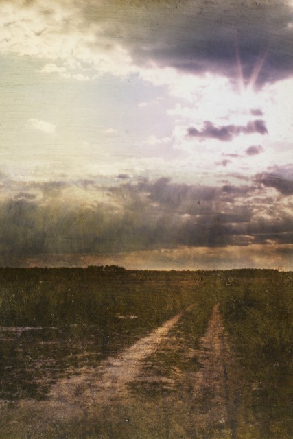 Dorothy Simpson Krause, Long Road to Sunset, 2006, UV cured flatbed print with mixed media on panel, 32 x 48 in.