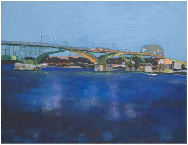 Melora Griffis peace bridge 2021 acrylic, fabric, glitter, thread, on muslin 56 x 72 in.