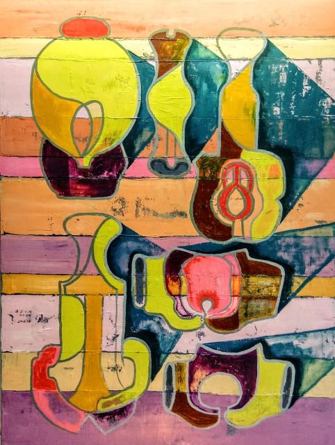 Brian Fekete Casseri Diagram; Mumbai Version 2020 oil on canvas 48 x 36 in.