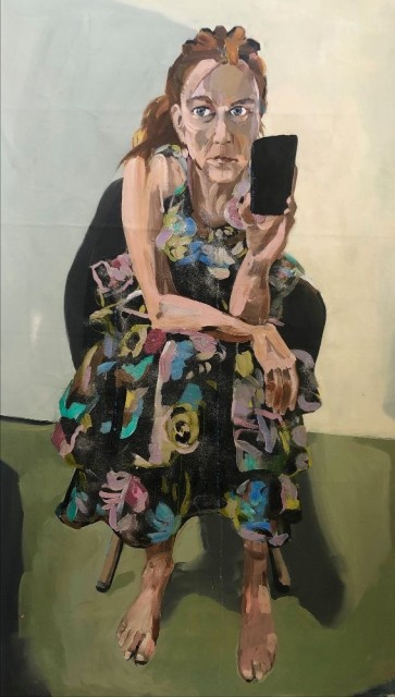 Melora Griffis the party's over 2020 oil on canvas 60 x 33 in.