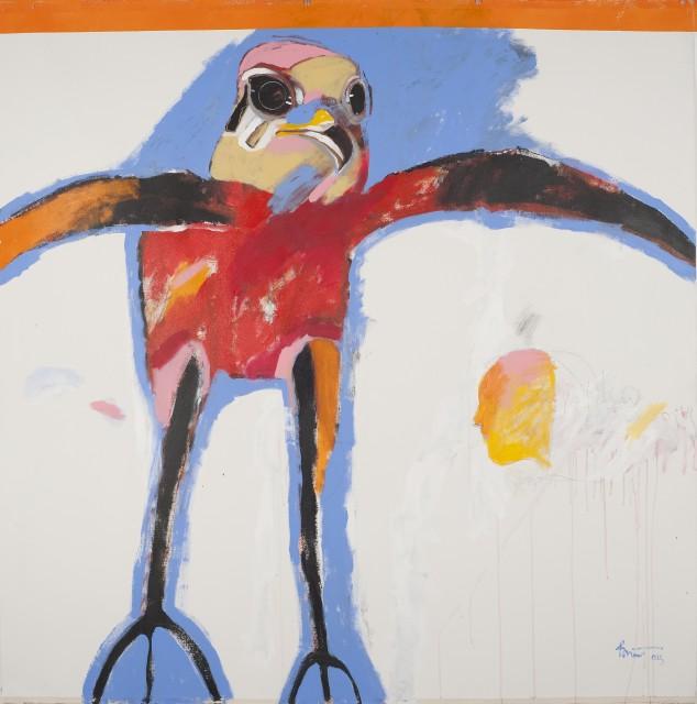 "Rick Bartow ""Falco,"" 2015, acrylic on canvas, 72x72Inches"
