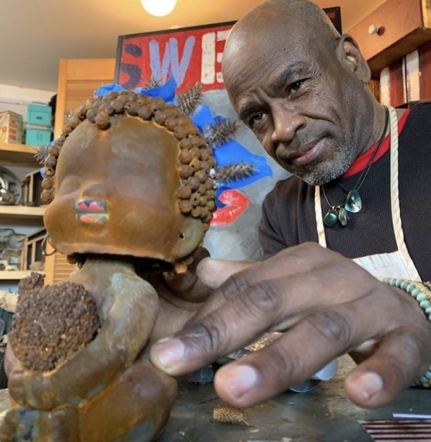Image: Willie Little in his stuido. Photo by Eric Slade of Oregon Art Beat.