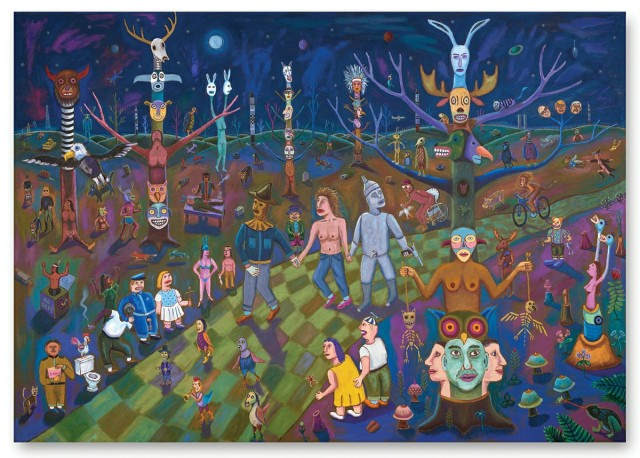 Jim Denomie, Oz: The Emergence (2017), oil on canvas, 98 x 140 in, Collection of Minnesota Museum of American Art