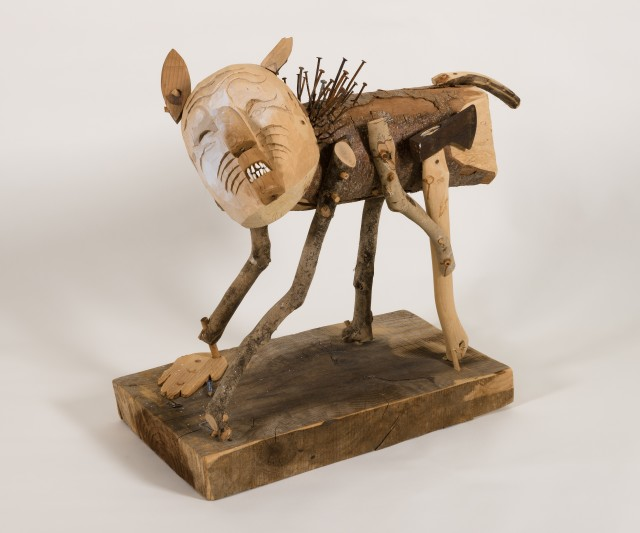 """""""Man Acting Like Dog"""", 2009, wood, metal, graphite, joint compound, 24"""" x 12"""" x 24"""""""
