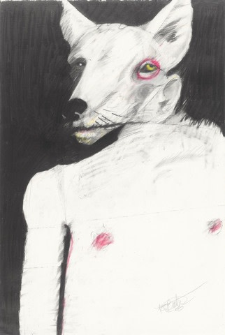 "Rick Bartow, ""Coyote"", 1985, pastel & charcoal, 22.5"" x 15"""