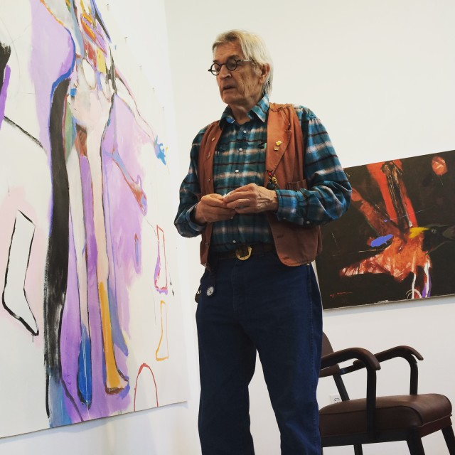 The artist Rick Bartow, surrounded here by his stunning paintings, passed on Apr. 2.  Photo: Wilder Schmaltz