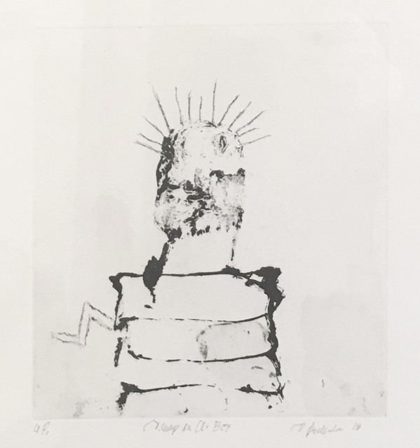 Tom Prochaska, Trump in a Box, 2018 lift ground etching, 9 x 8 inches