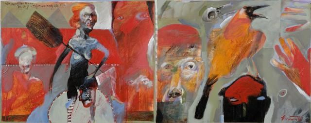 Rick Bartow Night Circus 9 & 10, 2006 acrylic on panel 16 x 40 in