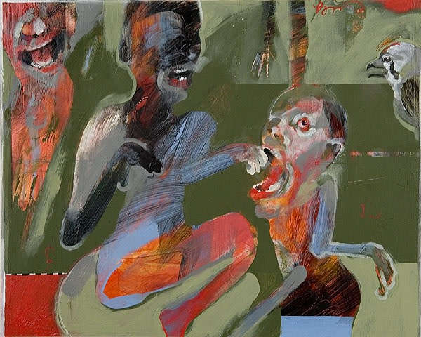 Rick Bartow Night Circus 1-4, 2006 acrylic on panel 16 x 80 in